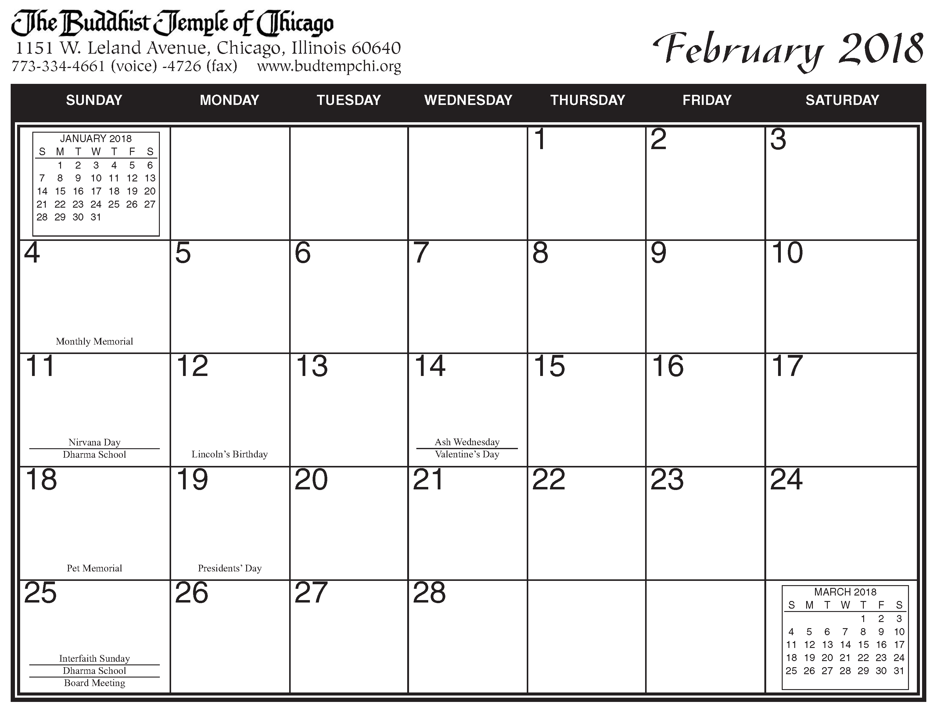 Printed 2018 Calendar archive – The Buddhist Temple of Chicago