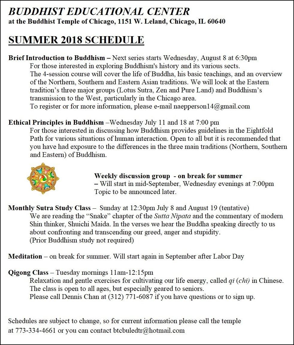 Buddhist Educational Center Schedule – Summer 2018 – The